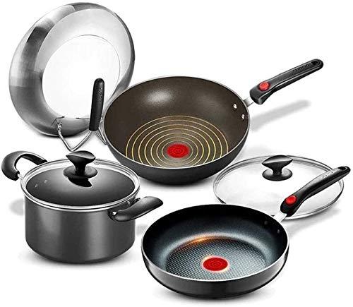 LMDH Conjunto de Utensilios de Cocina de Cocina, Utensilios de Cocina de Cocina Woks & Stir-Fry Step Pots and Pans Set, Base de inducción 3 Pieza con Recubrimiento de Utensilios de Cocina nonstick