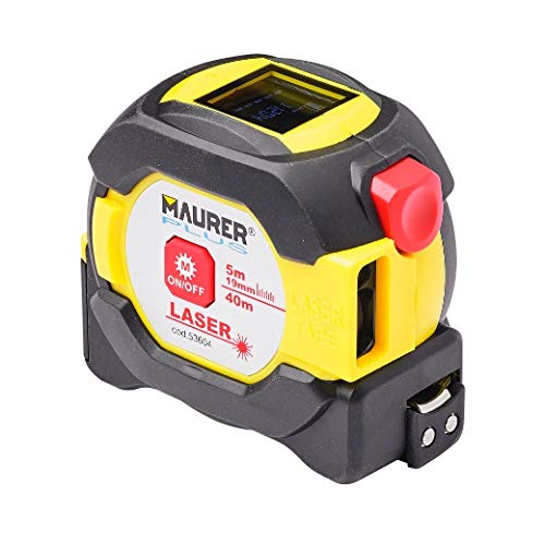 MAURER 2301300 Flexometro Magnetico con medidor Laser 40 Cinta 5 Metros x 19 mm