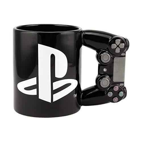 Playstation 3D Tasse Logo XL Controller PS4 - schwarz/weiß, Bedruckt, 100% Keramik, in Geschenkverpackung.