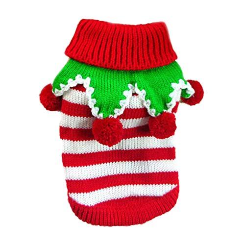 Balacoo Hundepullover für Weihnachten, Hunde-Rollkragenpullover, Narren-Kostüm für Hunde, gestreifter Pullover für Weihnachten, Winter (Rot und Weiß, Größe XXS)