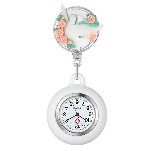 Lancardo Reloj Médico de Bolsillo con Decoración Animal Paloma Blanco Reloj Enfermera Elegante con Flores Multicolores Movimiento Cuarzo NO Impermeable Clip Broche Longitud Estirable