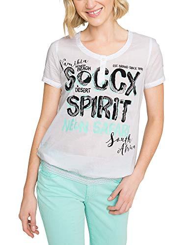 SOCCX Damen Bluse mit Artwork und gesmoktem Saum