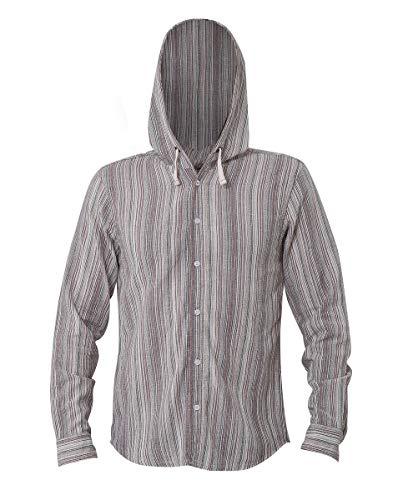 virblatt - Sommerhemd Herren | Baumwolle | Hippie Hemd Herrenhemden Langarm bügelfrei Männer Hemd | Kapuze | Fischerhemd - Freidenker XL braun