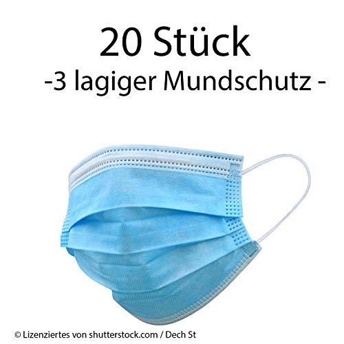 Einweg Mundschutz 3-Lagig Staubschutz mit Ohrschlaufen (20 x Pack 3-lagiger Mundschutz)
