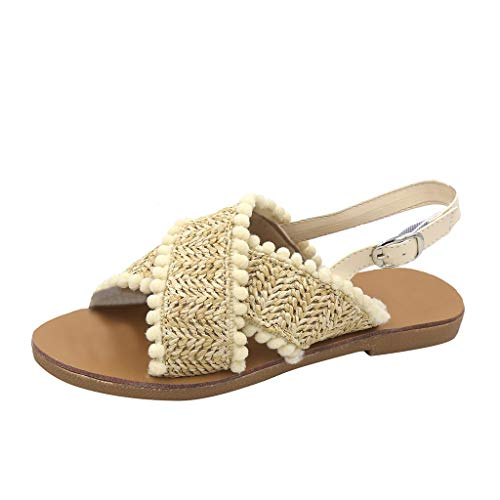 Best Prices! KCPer Fashion Women Sandals Summer Bohemia Shoes Wedges Weave Sandals Women's Buckle St...