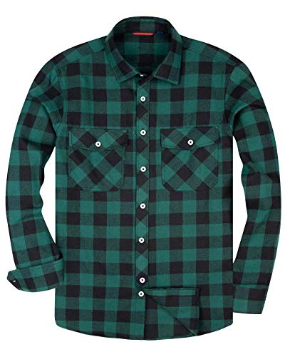 Alimens & Gentle Men's Button Down Regular Fit Long Sleeve Plaid Flannel Casual Shirts - Color: Green, Size: Large