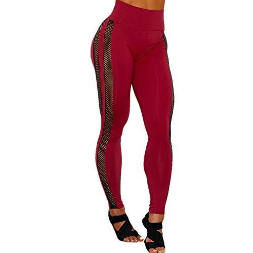 YLBH Sexy Mesh Yoga Hose Damen Sport Feuchtigkeitstransport Und Schnell Trocknenden Stoff Yoga Bibliothek Bibliothek Frauen Laufhose Damen Elastische Rot M