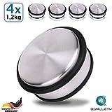 QUALLETY® - Tope para puerta de acero inoxidable [4 unidades] 10 x 4,5 cm // Especialmente pesado 1,2 kg - Tope para puerta especialmente estable y duradero