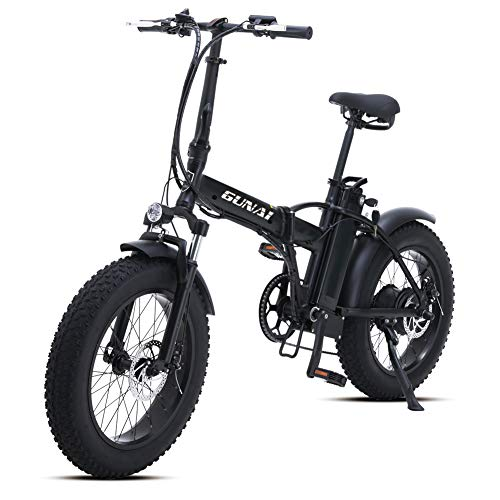 GUNAI Electric Bike 20 inch 500W Folding Mountain Bike with 48V 15AH Lithium Battery and Disc Brake(Black)