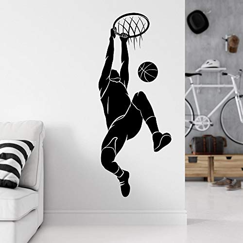 Baloncesto jugador de deportes Layup Slam Dunk Acción NBA Jordan Kobe James Etiqueta de la pared Vinilo Art Decal Boy Fans Dormitorio Sala de estar Club Decoración para el hogar Mural