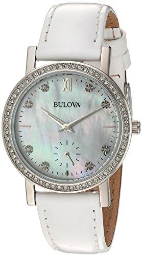 Bulova - Reloj de pulsera para mujer de 32 mm, correa de piel blanca, blanco cristal