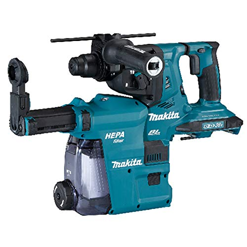 Makita DHR281ZWJ Twin 18V (36V) Li-ion LXT Brushless Rotary Hammer Complete with DX09 Dust Collection System Supplied in a Makpac Case - Batteries and Charger Not Included