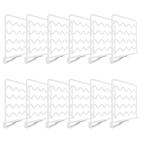 Mebbay 12 Pack Closet Wire Shelf Dividers, Dividers for Shelves in Closet for Storage and Organization, Plastic Shelf Dividers for Wood Shelf