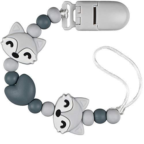 PREMYO Baby Schnullerkette Mädchen Jungen Fuchs - Silikon-Perlen Bunt Eckig mit Clip - Universal Ohne Namen Grau