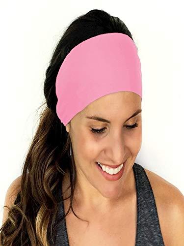 Longra dames wrap haarband, sport, yoga, fitness, hardlopen, elastische haarband, rekbaar, haarband, accessoires, geknoopt, turban, hoofdband Roze
