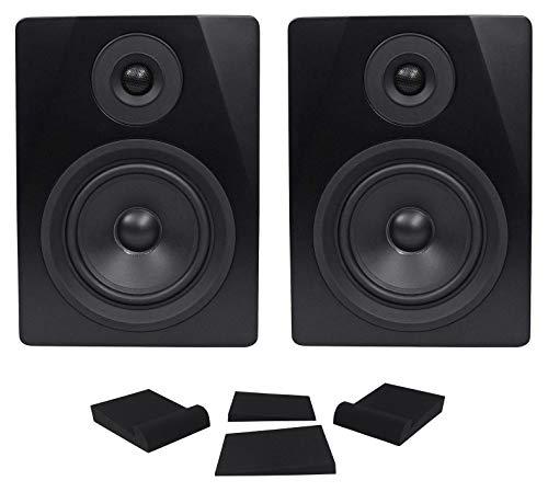 "Pair Rockville APM5B 5.25"" 2-Way 250W Powered USB Studio Monitor Speakers+Pads"