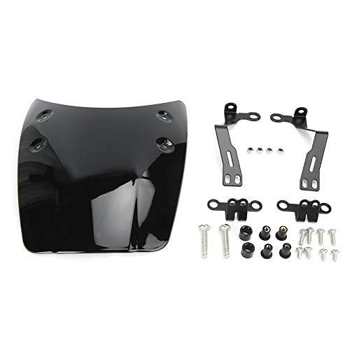 Qiilu Motorrad Windabweiser, glänzend schwarz Retro Style Motorrad Scheinwerfer Verkleidung Scheinwerferschutz Modifiziertes Zubehör(Glänzend schwarz)