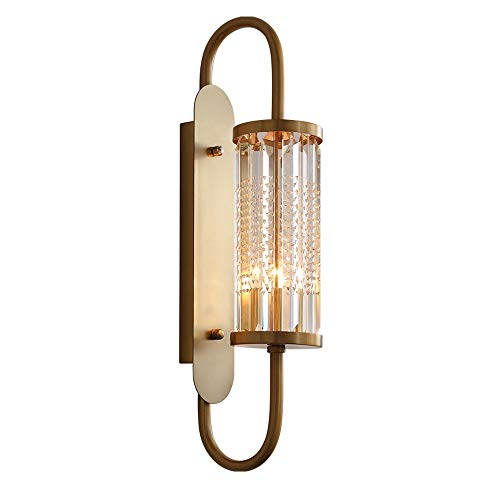 Sunny Lingt European Crystal Sconce Lamp, Luxury Brass Arm Crystals Wall Lighting Fixture, Bedside Hallway Living Room LED Wall Lantern, Modern Farmhouse Wall Lights, for Bedside Aisle Corridor