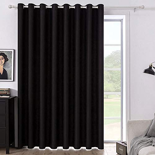 MIULEE Blackout Curtain Vertical Blinds Room Darkening Solid Extra Wide Window Drapes Grommet Top Room Divider Panel for Bedroom / Living Room / Patio Sliding Glass Door 1 PC, 100 x 84 Inch Black