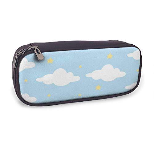 Estuche Escolar de Gran Capacidad,Nube Estrella En Cielo Azul Patrón Listo,Bolsa de Lápiz Organizador para Material Papelería con Cremallera Doble