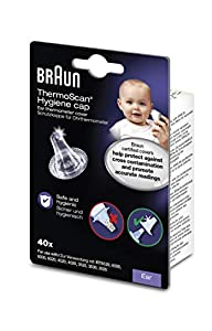40 Einweg-Schutzkappen passend für alle Braun ThermoScan Ohr-Thermometer Die Schutzkappen stellen eine hygienische Messung sicher und verringern das Risiko von Kreuzkontaminationen BPA- und Latexfrei
