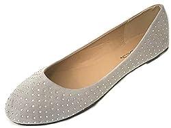 4021 Grey Faux Suede Rhinestone Ballerina Ballet Flats