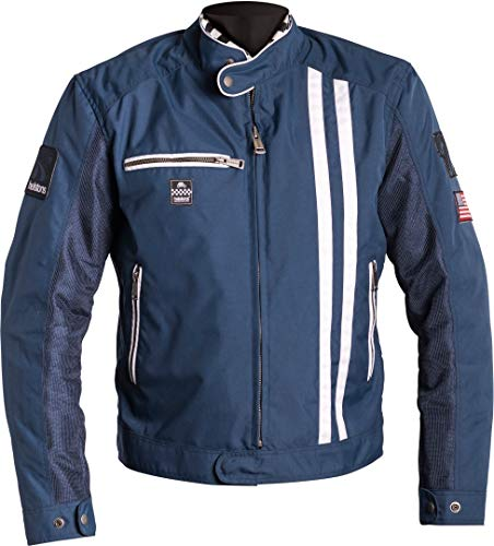 Helstons Shelby - Chaqueta para moto, tejido de malla, color azul/blanco, talla M