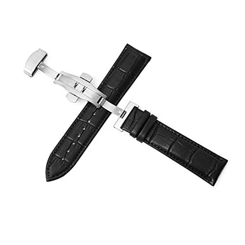 DALIANMAO Cuerdas de Reloj de Cuero Genuino 12-24mm Reloj Universal Banda de Hebilla de Mariposa Strap de Hebilla de Acero 22mm Reloj Banda (Band Color : Silver Black, Band Width : 24mm)