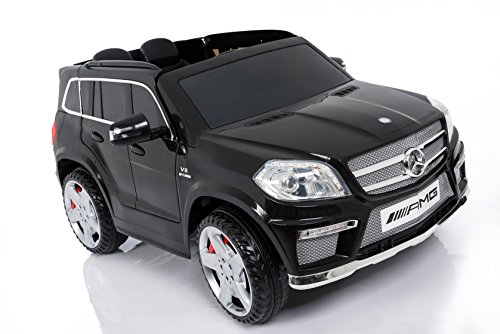 Coche eléctrico de 2 plazas para niños tipo Mercedes GL63 AMG, con asientos de piel, ruedas de goma y mando a distancia, color negro, 12 V.