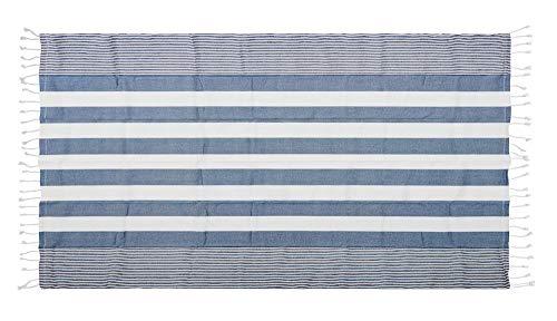 SAGAFORM Hamamtuch XXL, Badetuch/Tischdecke 145x250cm, 100% Bio-Baumwolle, Strandtuch Groß, Badetuch, Kleine Picknickdecke Boho, Handtuch Maritim, Saunatuch, Sauna Zubehör (Blau)