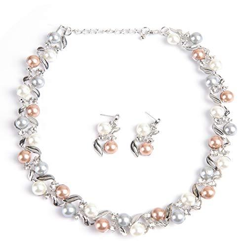 Betued Las Mujeres Collar de Perlas de imitación aretes Conjunto, joyería Nupcial Conjunto con Joyas de Diamantes de imitación Regalo para Boda y Regalo del día de Madre (Blanco Plateado)