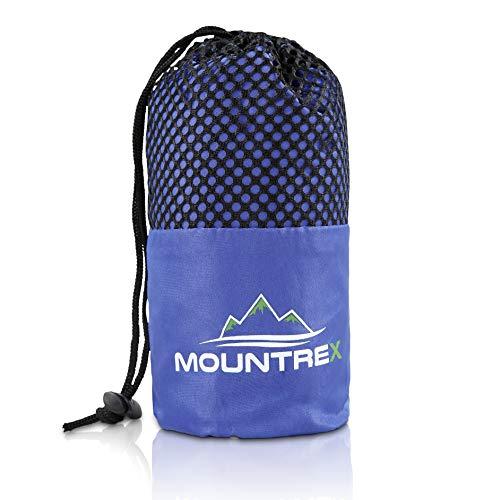 MOUNTREX® Hüttenschlafsack - Ultraleicht & Kompakt (330g) - Schlafsack Inlett mit Klettverschluss - 220 x 90 cm - Inlay + GRATIS Handtuch