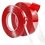 10m Cinta Adhesiva Doble Cara, 2 rollos Nano Tape Extrafuerte, Reutilizable Acrílica Cinta Adhesiva de montaje Cinta Traceless para Hogar Oficina Dormitorio, Transparente