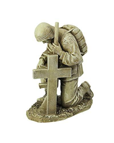 Kneeling Soldier by Cross Gravestone 8' Resin Stone Garden Statue Figurine