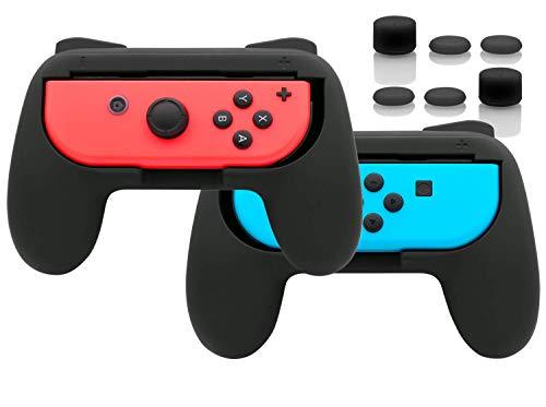 Joy Con Griffe Halterung mit Daumen Griffkappen für Nintendo Switch & OLED Model Controller, Gummioberfläche Switch Joy Con Grip Controller Halter Zubehör - Schwarz