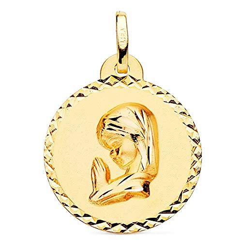 Medalla oro 18k Virgen Niña 20mm. lisa redonda detalle cerco cruces talladas - Personalizable - GRABACIÓN INCLUIDA EN EL PRECIO