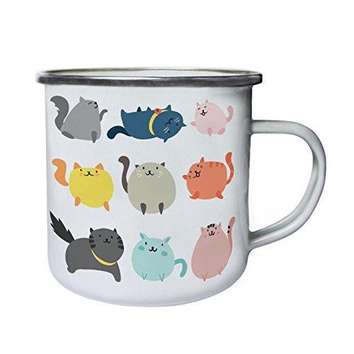 Nette Katzen-Katzen-Liebhaber Lustige Neuheit Retro, Zinn, Emaille 10oz/280ml Becher Tasse b247e
