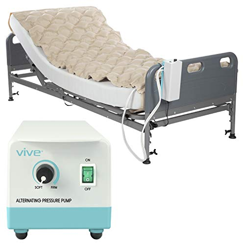 Vive Alternating Pressure Pad - Includes Mattress Pad and Electric Pump System - Quiet, Inflatable Bed Air Topper for Pressure Ulcer Sore Treatment - Fits Standard Hospital Bed for Bedridden Patients