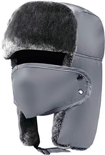 Trapper Hat Winter Hats for Men Trooper Hunting Ski Hat Women Ear Flap Windproof Mask Grey