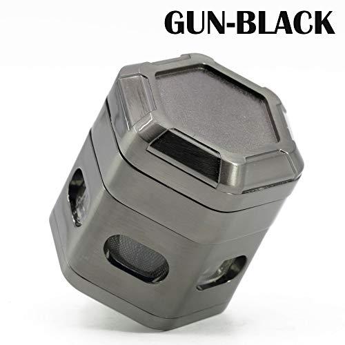 ZYL Grinder,60mm 4 Stück Premium Aluminium Tabak Grinder Mit Pollensammler, Reinigungsbürste,Gun-Black-60cm*62cm