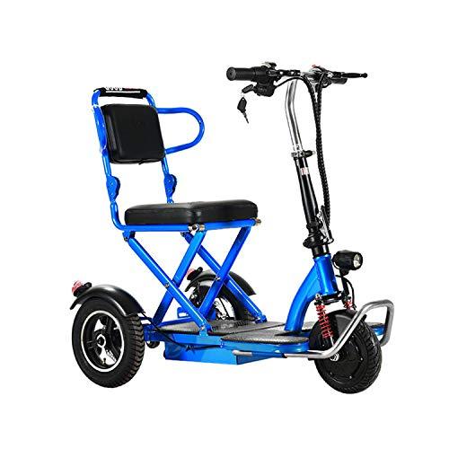 JHKGY Scooter De Movilidad De 3 Ruedas,Scooter Eléctrico Plegable De Movilidad,Scooter Eléctrico Ligero Y Portátil, para Adultos/Ancianos/Discapacitados,Azul