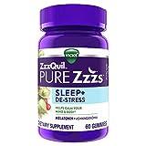 ZzzQuil PURE Zzzs, De-Stress & Sleep, Melatonin Sleep Aid with Ashwagandha, Chamomile, Lavender, & Valerian Root, Drug Free, 60 Gummies