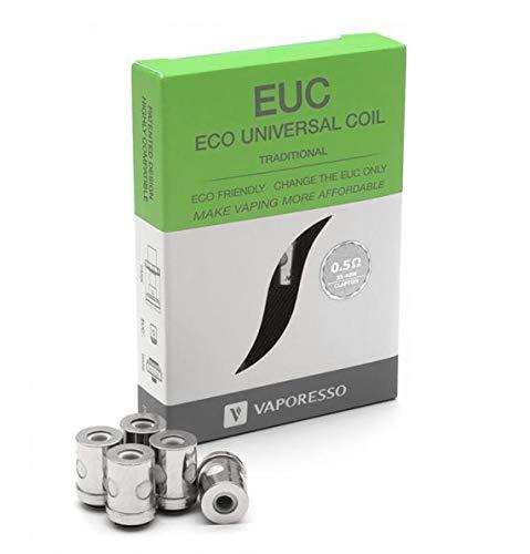 Bobinas EUC (Traditonal) tradicionales VAPORESSO - 0.5 Ohms - Paquete de 5 - Se adapta a Tarot Nano, Tarot Mini, Estoc, Veco, Drizzle, Attitude - Este producto no contiene nicotina ni Tabaco