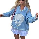 Women Girls Y2K Argyle Preppy Style Knit Sweater Top Long Sleeve Streetwear E-Girls 90s Plaid Skull Sweater Vest Pullover (A Skull Blue, L)