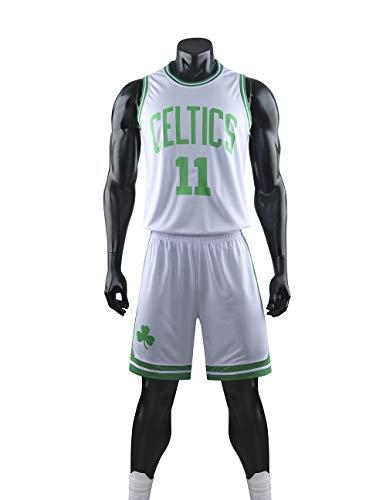 YZQ Camisetas De Baloncesto para Hombre, Boston Celtics # 11 Kyrie Irving NBA Tops Sueltos Y Transpirables Camisetas Casuales Chalecos Deportivos Y Trajes Cortos,Blanco,M(Child) 125~135CM