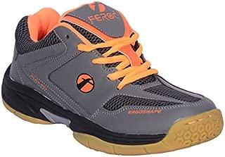 Feroc Gray Orange Unisex Badminton Shoe