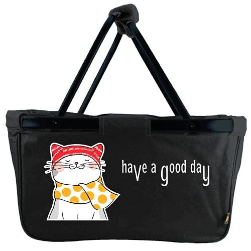 Mein Zwergenland Faltbarer Einkaufskorb Have a Good Day, Korb klappbar 28 L, Faltkorb schwarz mit Katze