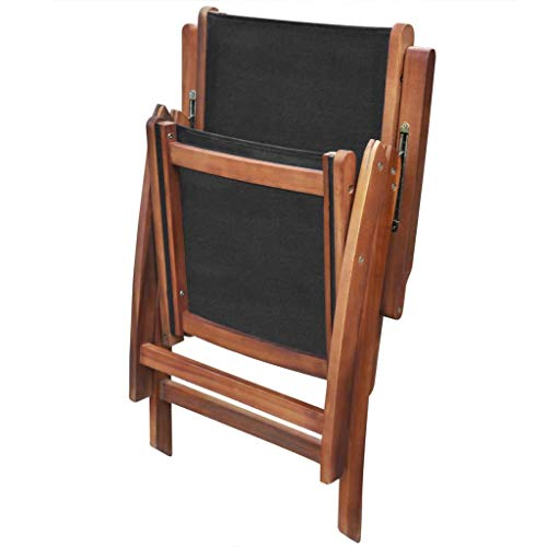 Festnight Set of 2 Patio Folding Dining Chairs with Adjustable Reclining Backrest and Armrest Lounge Chair Acacia Wood Outdoor Garden Patio Yard Furniture