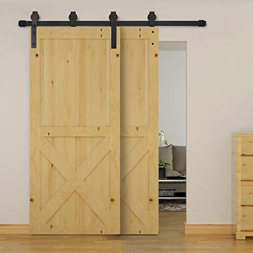 HOMCOM Herrajes Puerta Corredera 200 cm Kit de Acero al Carbono Accesorios para 2 Puertas Deslizantes de Madera de 100 cm de Ancho Baño Domitorio Cocina
