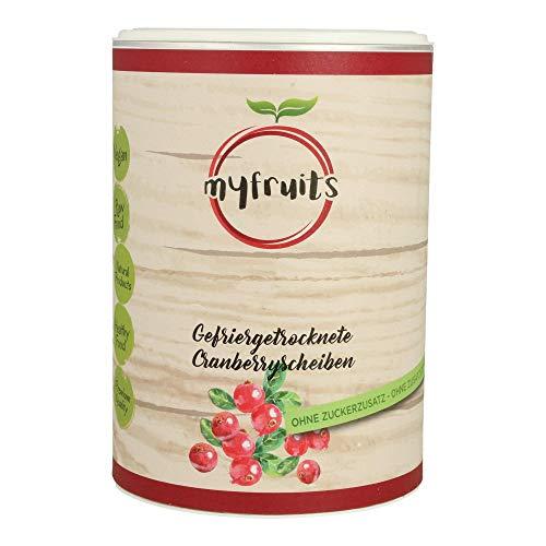 myfruits® Cranberryscheiben - gefriergetrocknet - ohne Zusätze, zu 100% aus Cranberries, gesunde Zutat für Müsli oder Porridge (1er Pack)